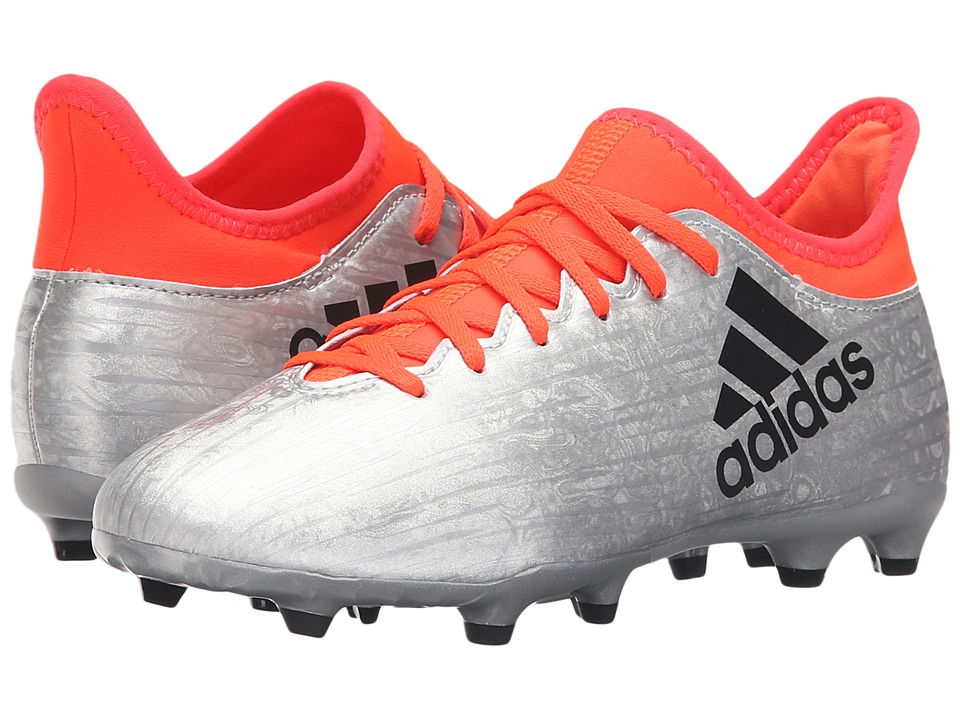 adidas Kids X 16.3 FG Soccer (Little Kid/Big Kid) (Metallic Silver/Core Black/Solar Red) Kids Shoes