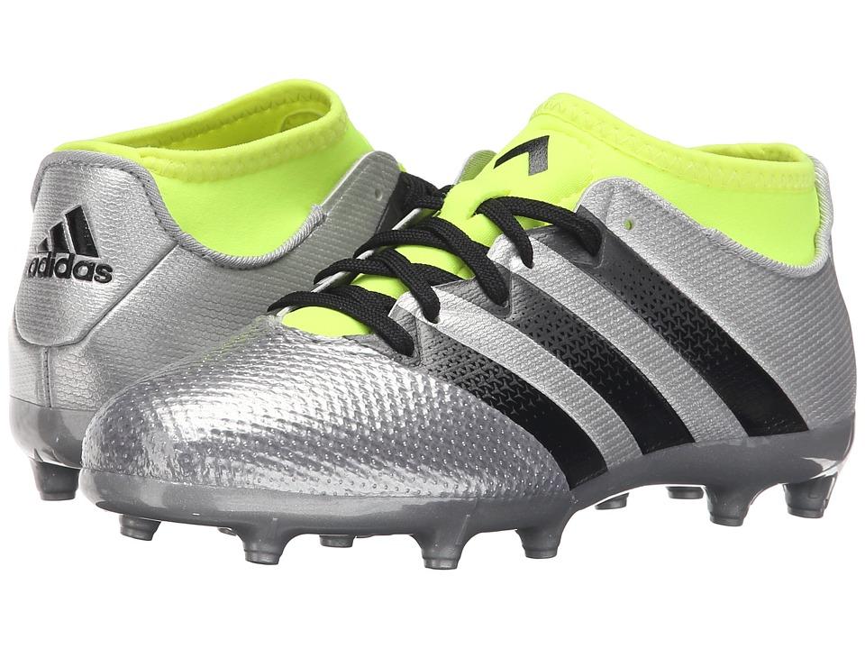 adidas Kids - Ace 16.3 Primemesh FG/AG Soccer (Little Kid/Big Kid) (Metallic Silver/Core Black/Solar Yellow) Kids Shoes
