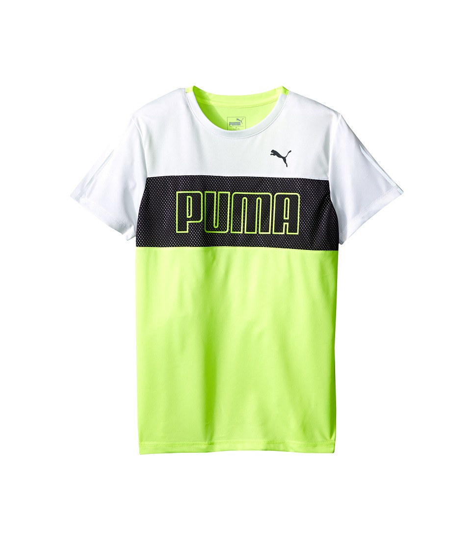 Puma Kids - Short Sleeve Color Block Tee (Big Kids) (Acid Yellow) Boy's Short Sleeve Pullover