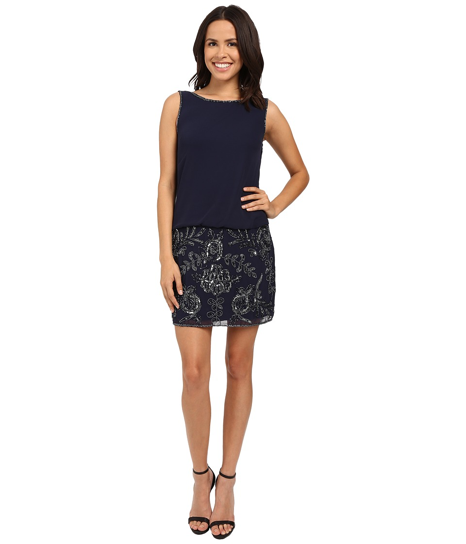 Adrianna Papell - Sleeveless Bead Georgette Blouson Cocktail (Navy) Women's Dress