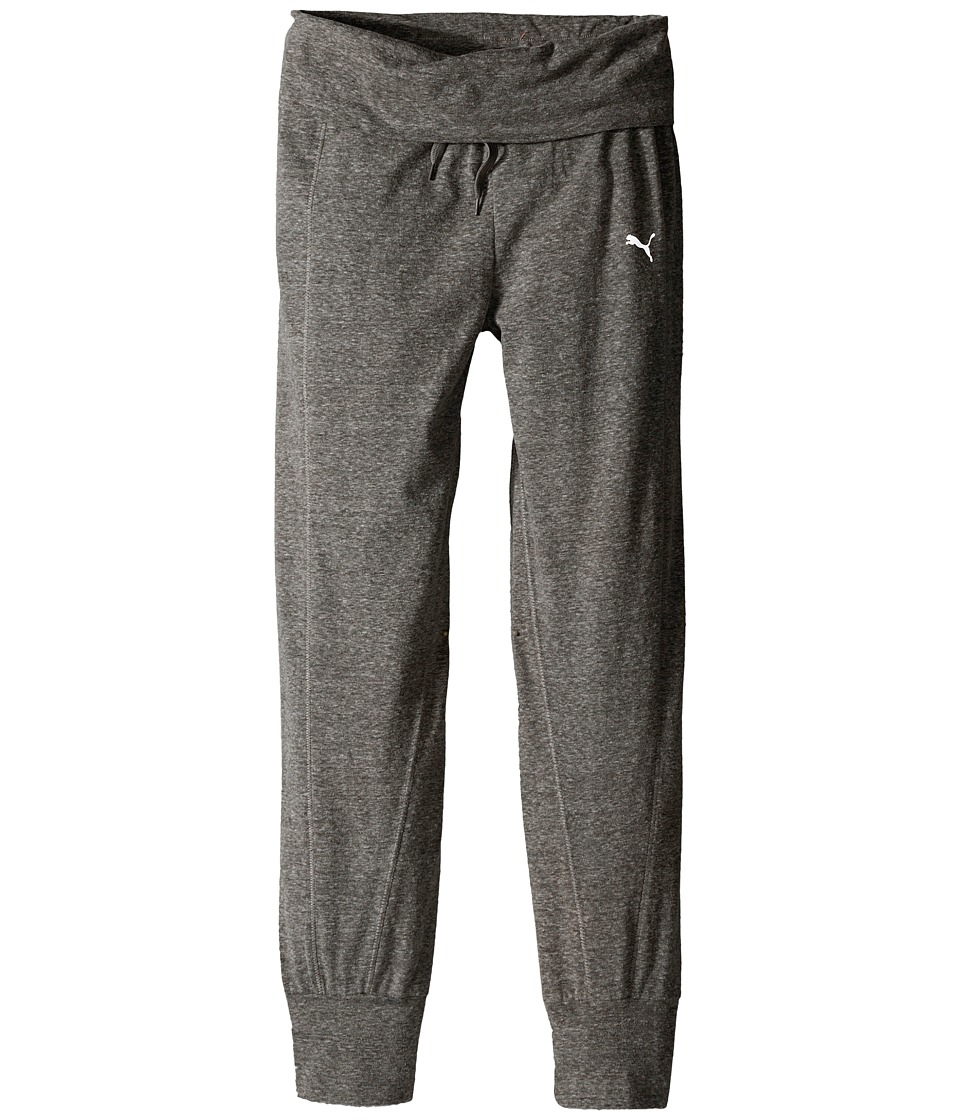 Puma Kids - Active Pants w/ Fold-Over Waist (Big Kids) (Medium Heather Grey) Girl's Casual Pants