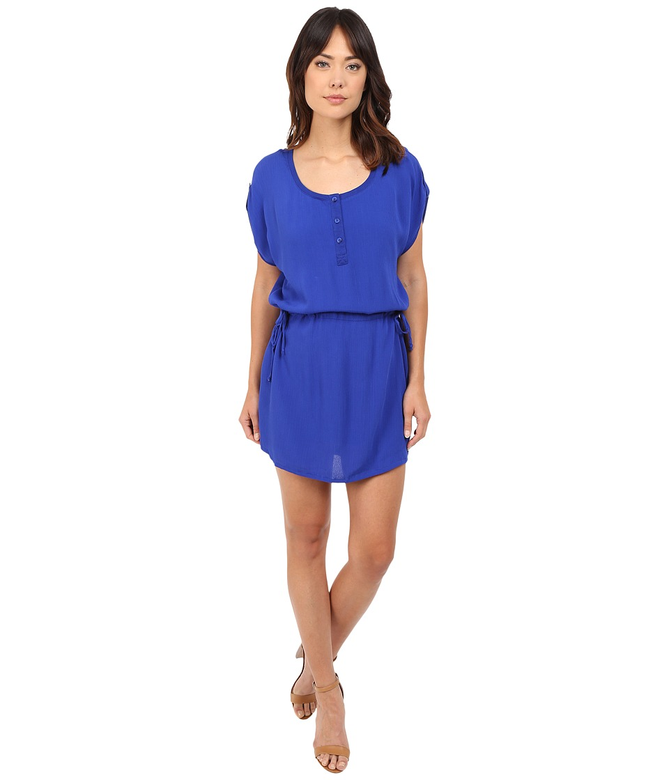 Splendid - Rayon Crinkle Gauze Drawstring Dress (Cobalt Blue) Women's Dress