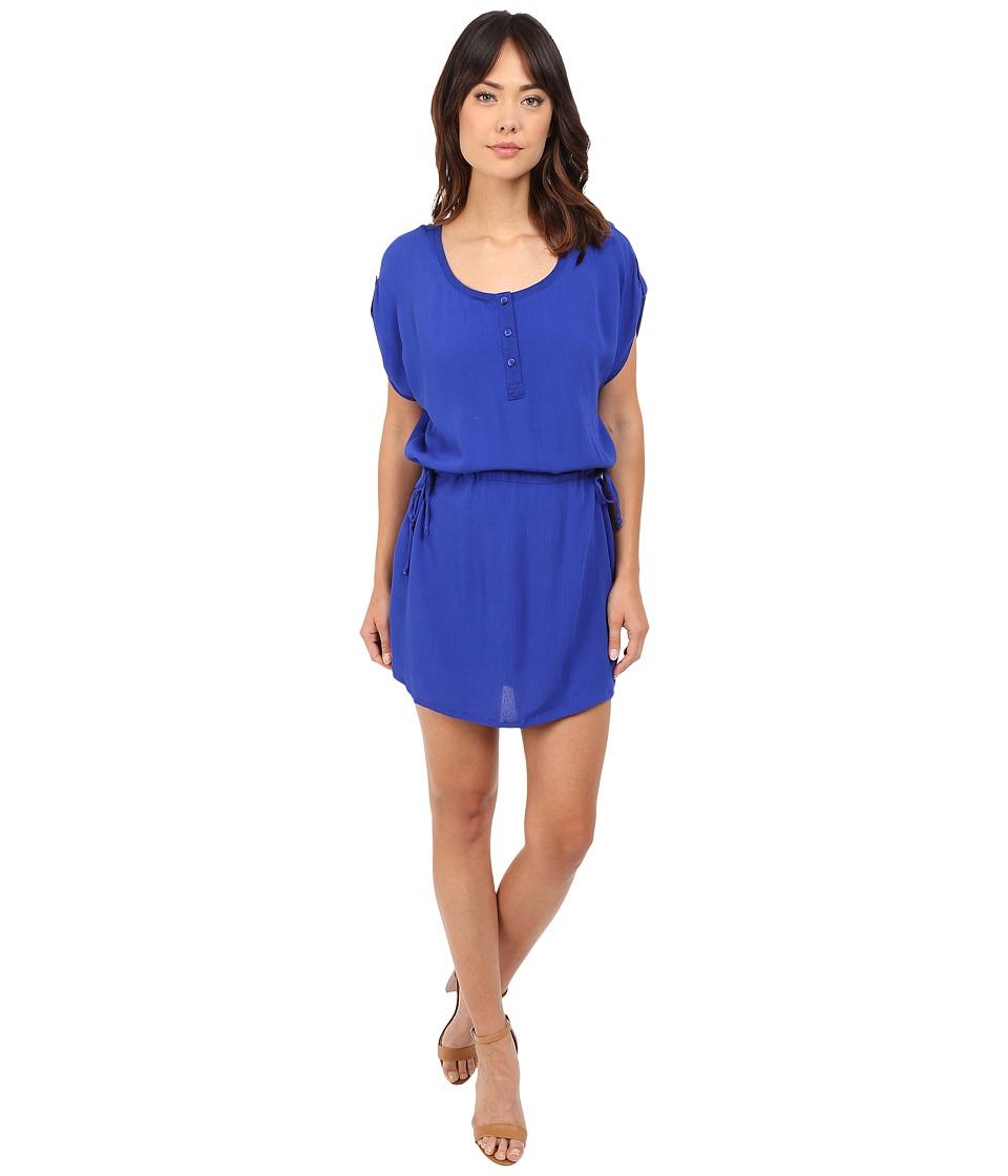Splendid - Rayon Crinkle Gauze Drawstring Dress (Cobalt Blue) Women's Dress