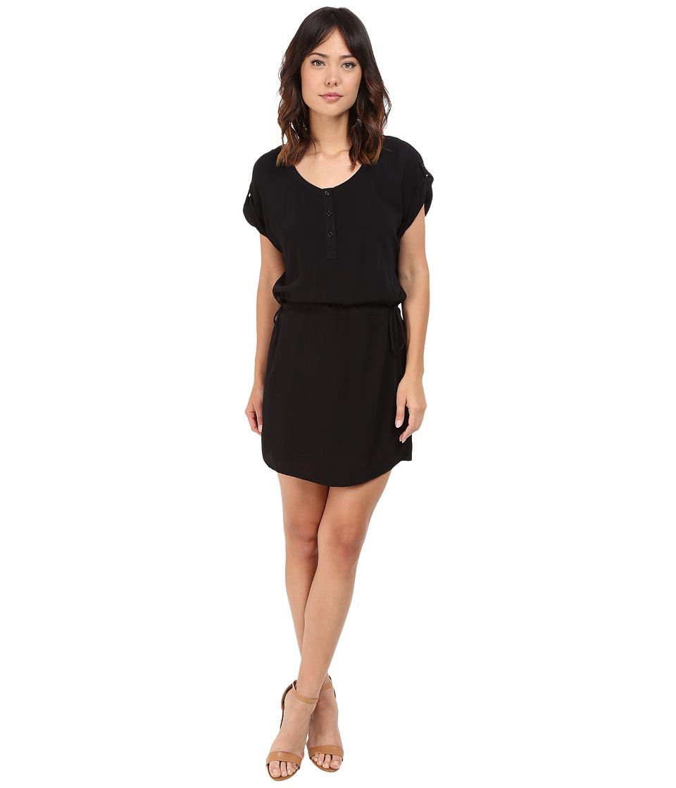 Splendid Rayon Crinkle Gauze Drawstring Dress (Black) Women