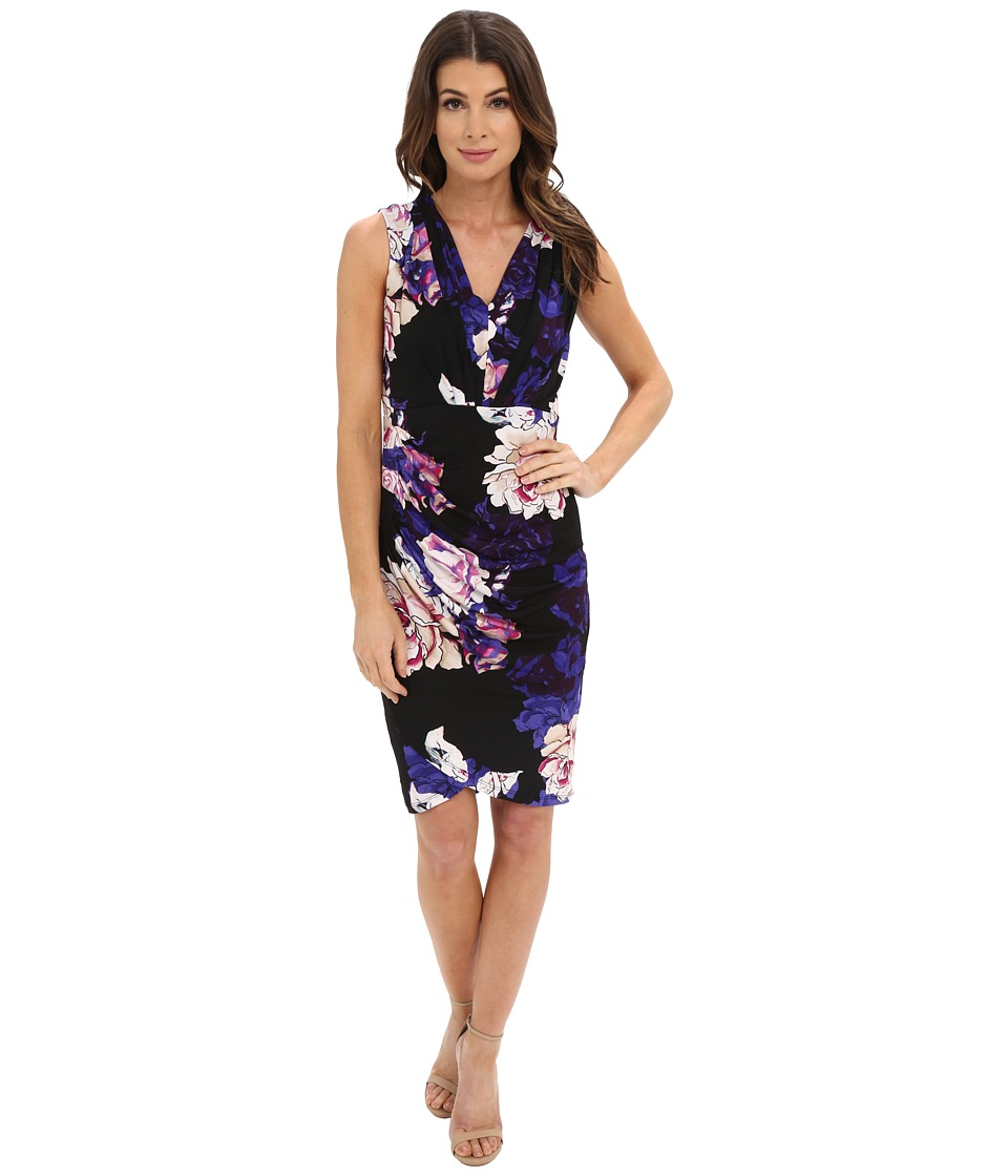 Adrianna Papell - Print V-Neck Ruched Dress (Black Multi) Women's Dress