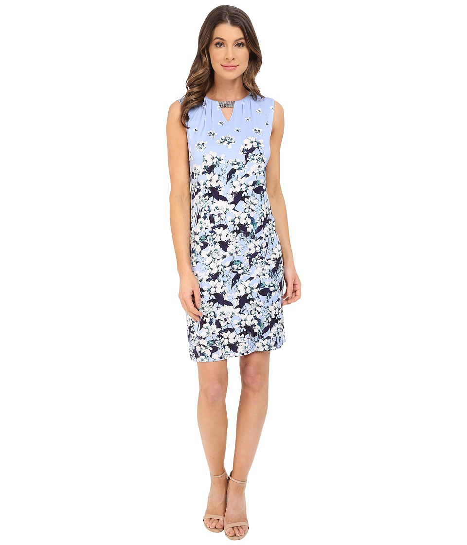 Adrianna Papell - Print Scoop Neck Embellished Dress (Crocus Multi) Women's Dress
