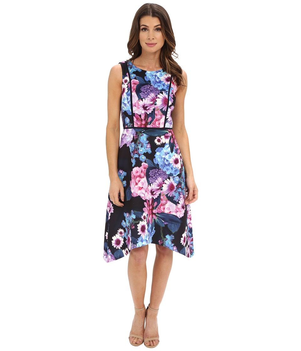 Adrianna Papell - Print Floral Scuba Dress (Black Multi) Women's Dress