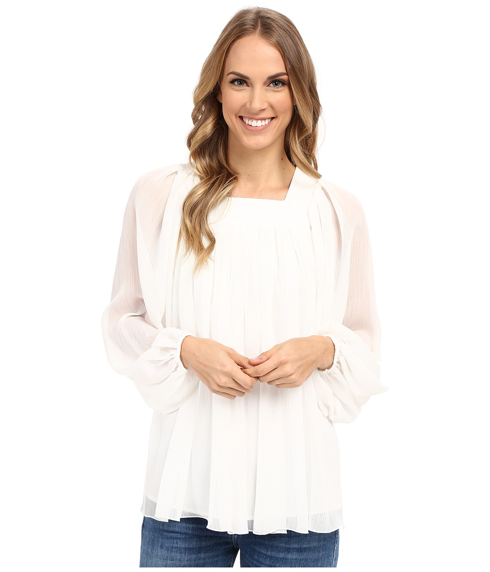Adrianna Papell - Crinkle Chiffon Pleated Blouse (Ivory) Women's Blouse
