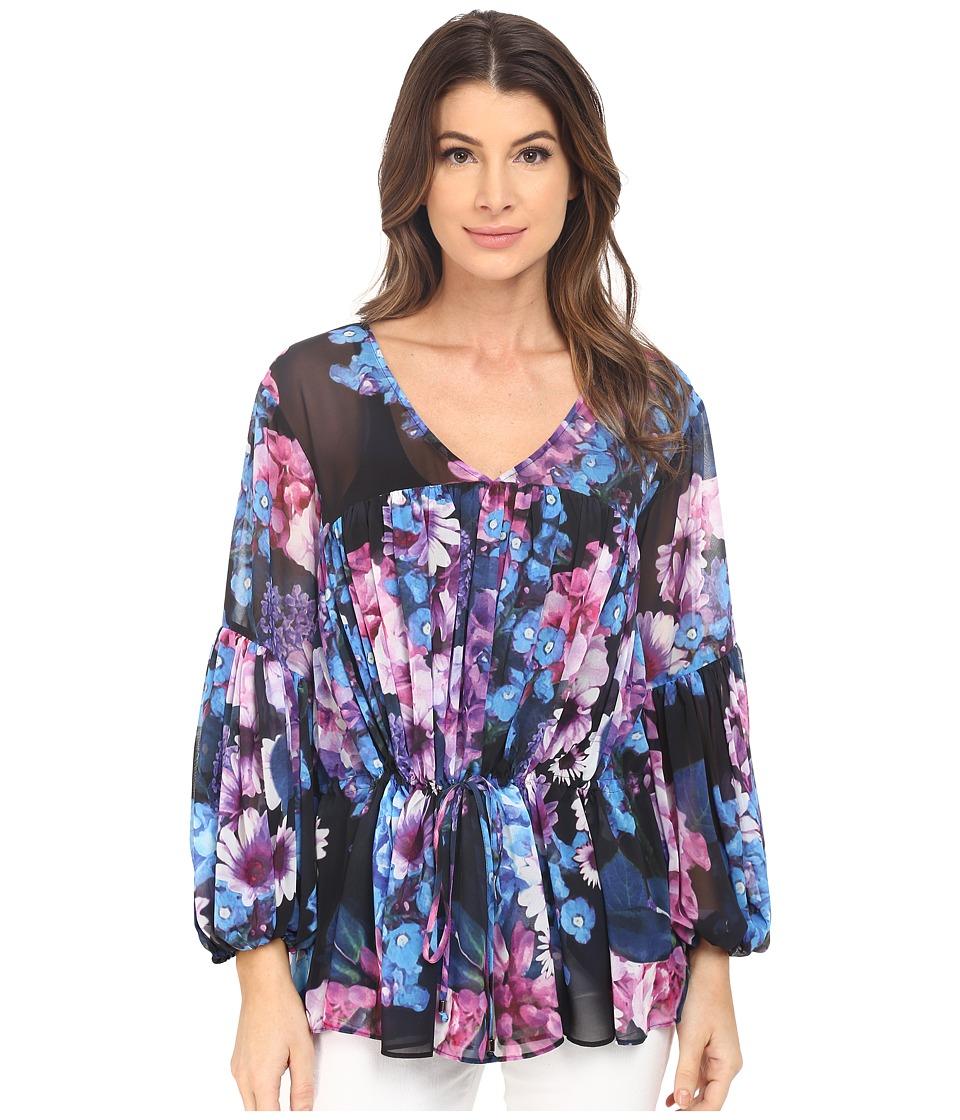 Adrianna Papell - Print Chiffon Blouse (Black Multi) Women's Blouse plus size,  plus size fashion plus size appare