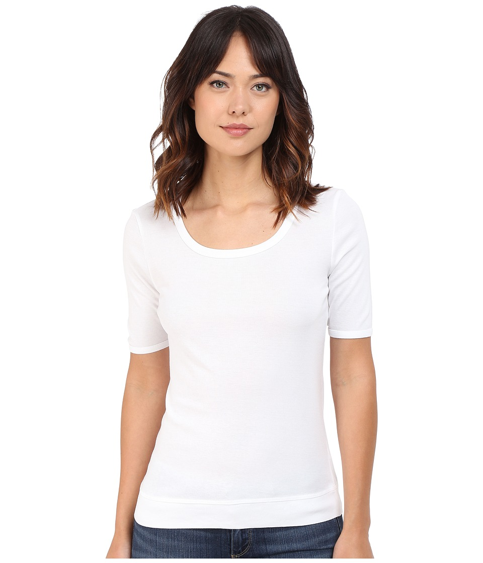 Splendid - 1x1 Crew Neck Tee (White) Women's T Shirt
