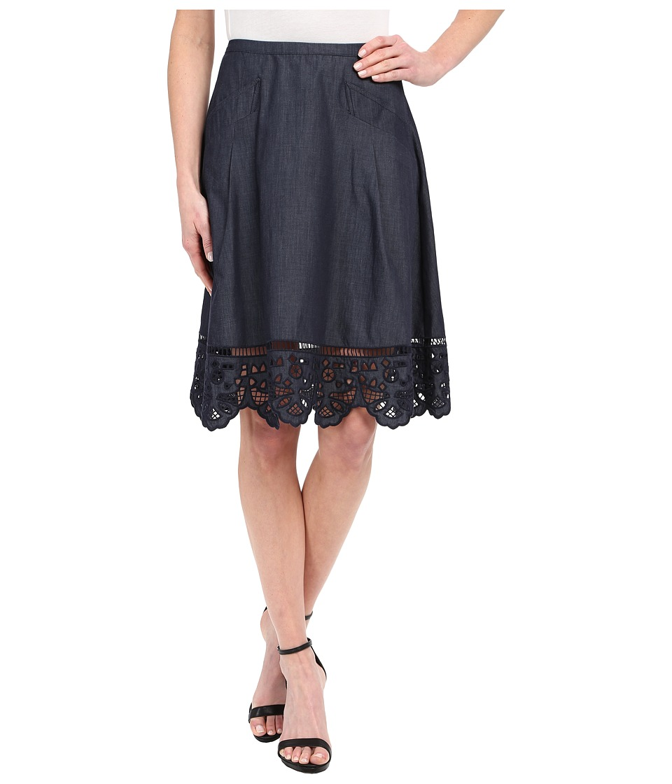Adrianna Papell - Chambray Skirt with Button Trim (Midnight Blue) Women's Skirt