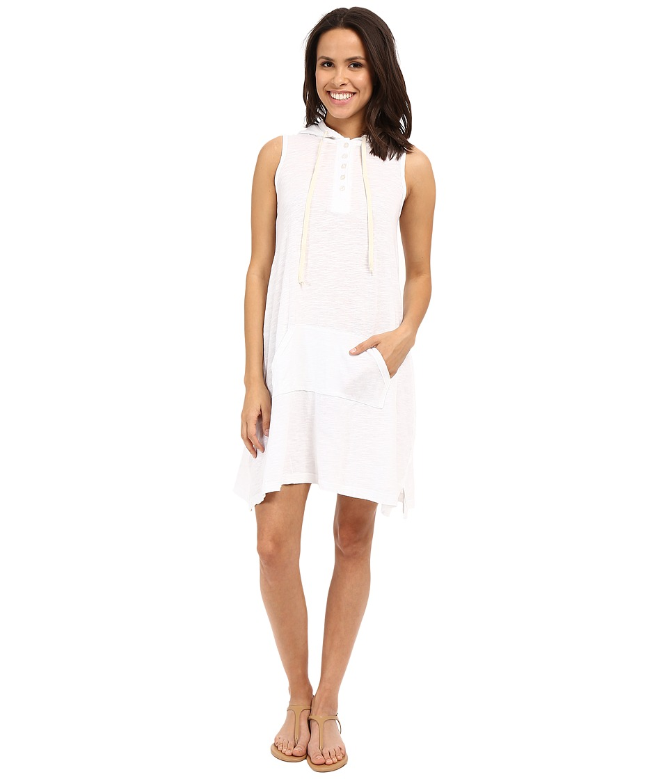 Allen Allen Sleeveless Hooded Henley Dress (White) Women