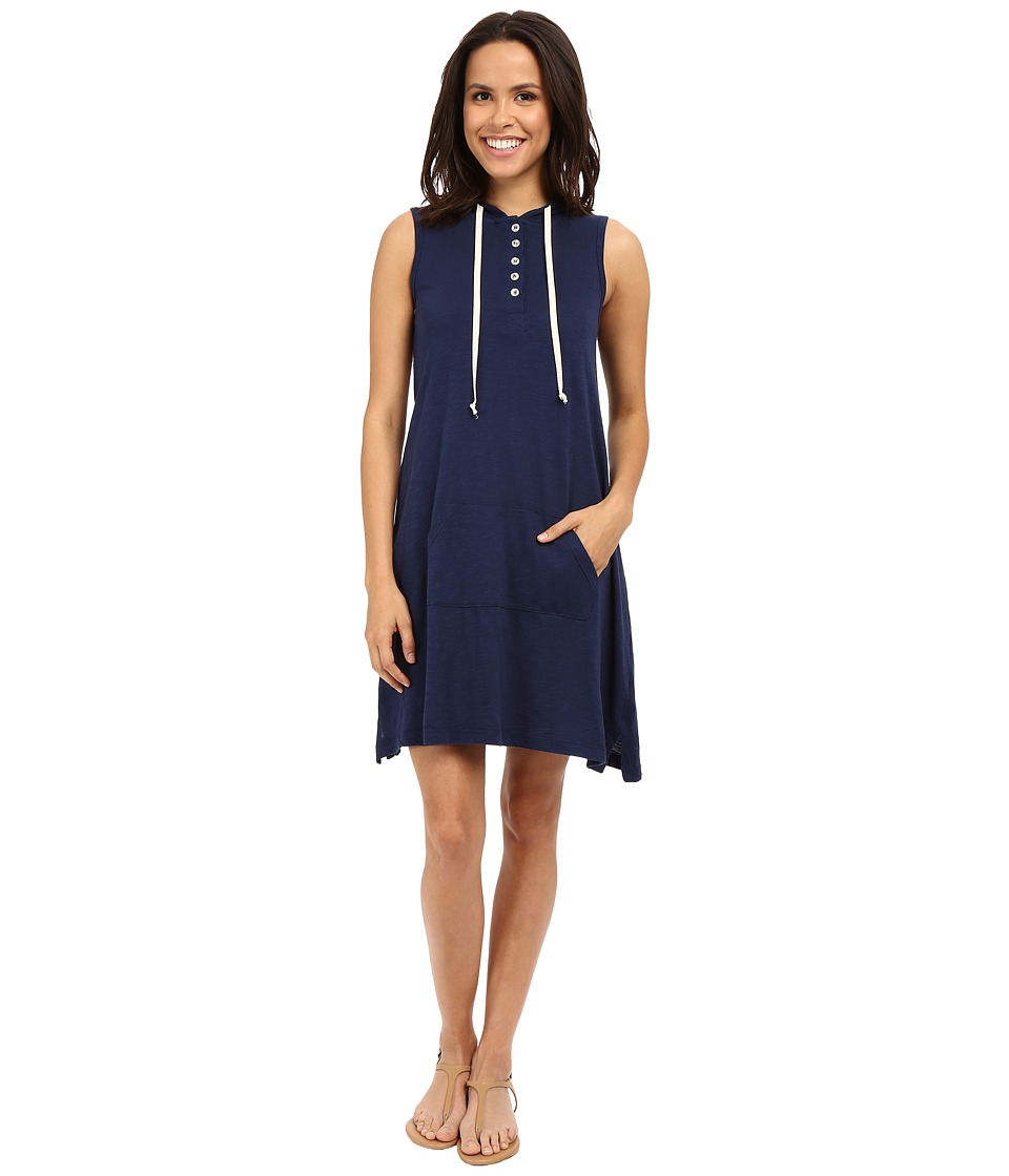 Allen Allen Sleeveless Hooded Henley Dress (Lapis) Women