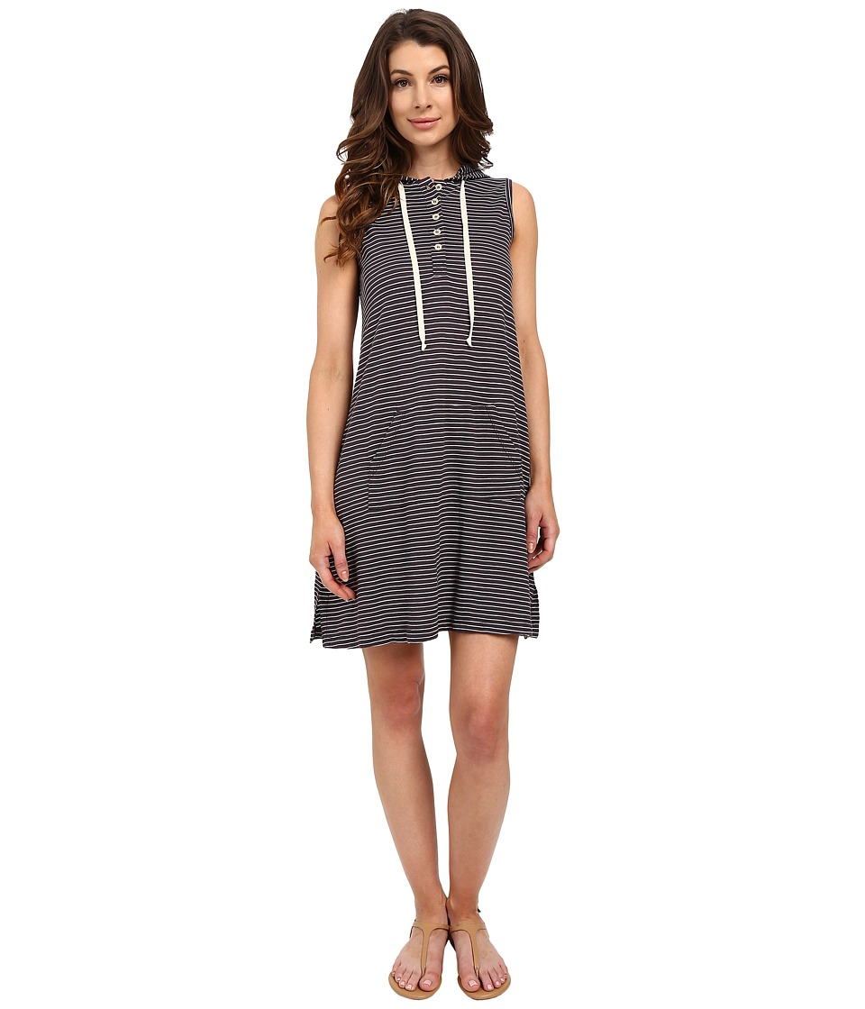Allen Allen Stripe Sleeveless Hooded Henley Dress (Jet Grey) Women