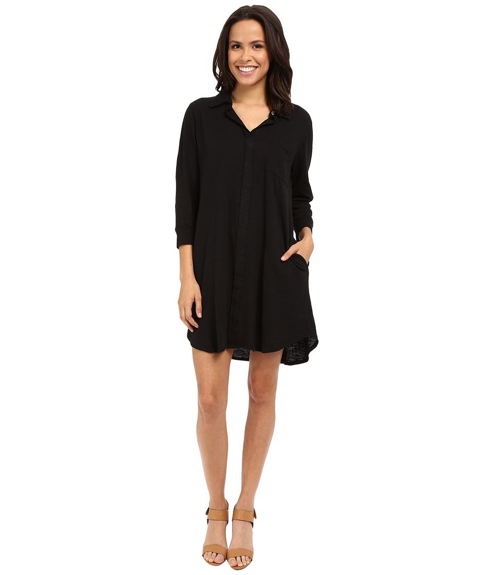 Image of Allen Allen - 3/4 Sleeve Shirtdress (Black) Women's Dress