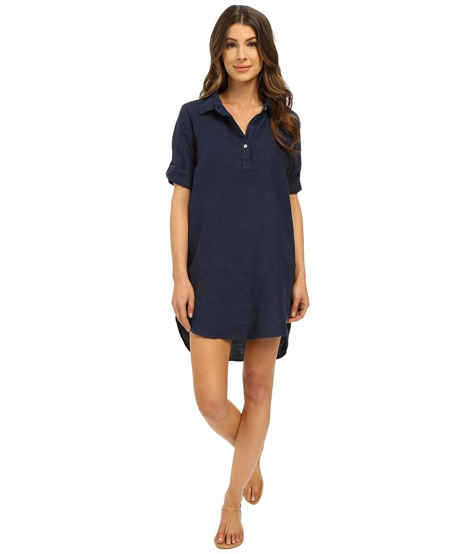 Allen Allen - Roll Sleeve Shirtdress (Lapis) Women's Dress