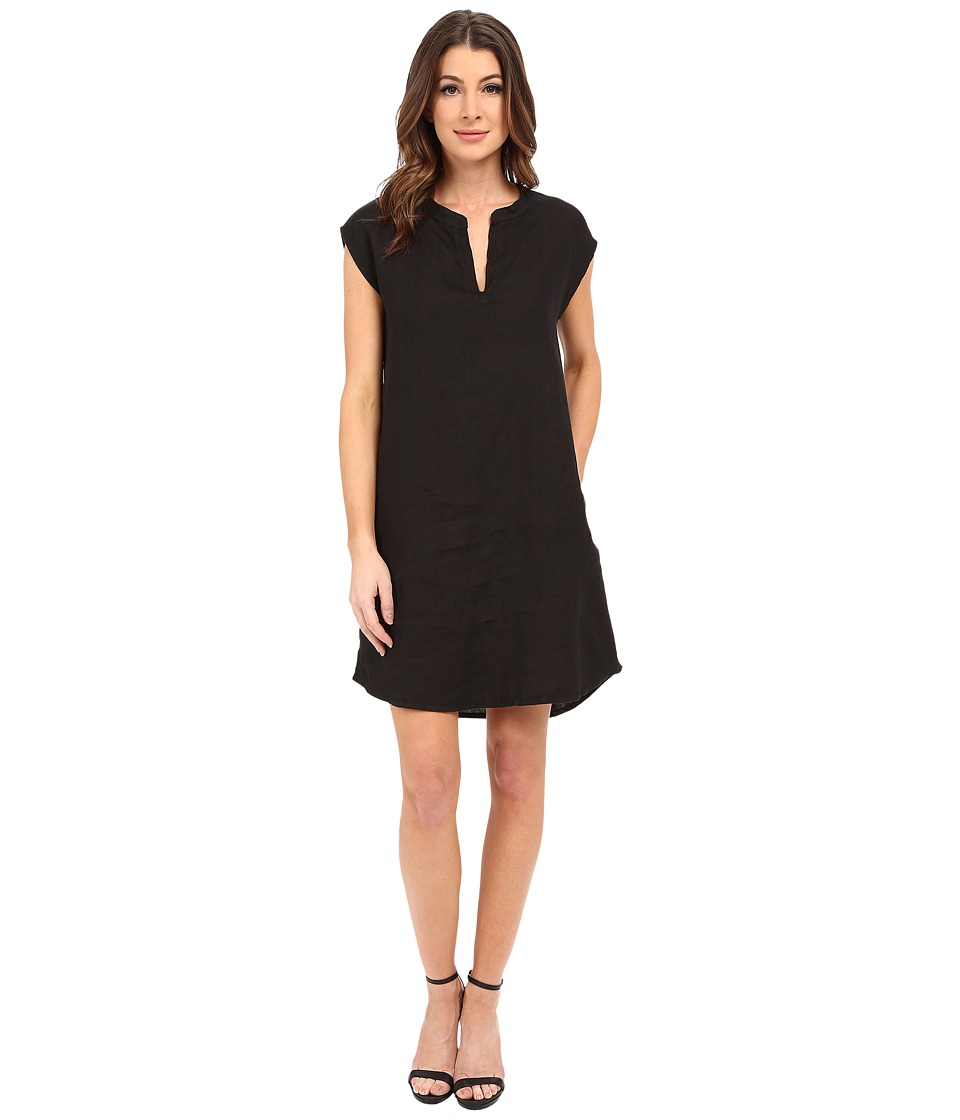 Allen Allen - Sleeveless Split Neck Dress (Black) Women's Dress