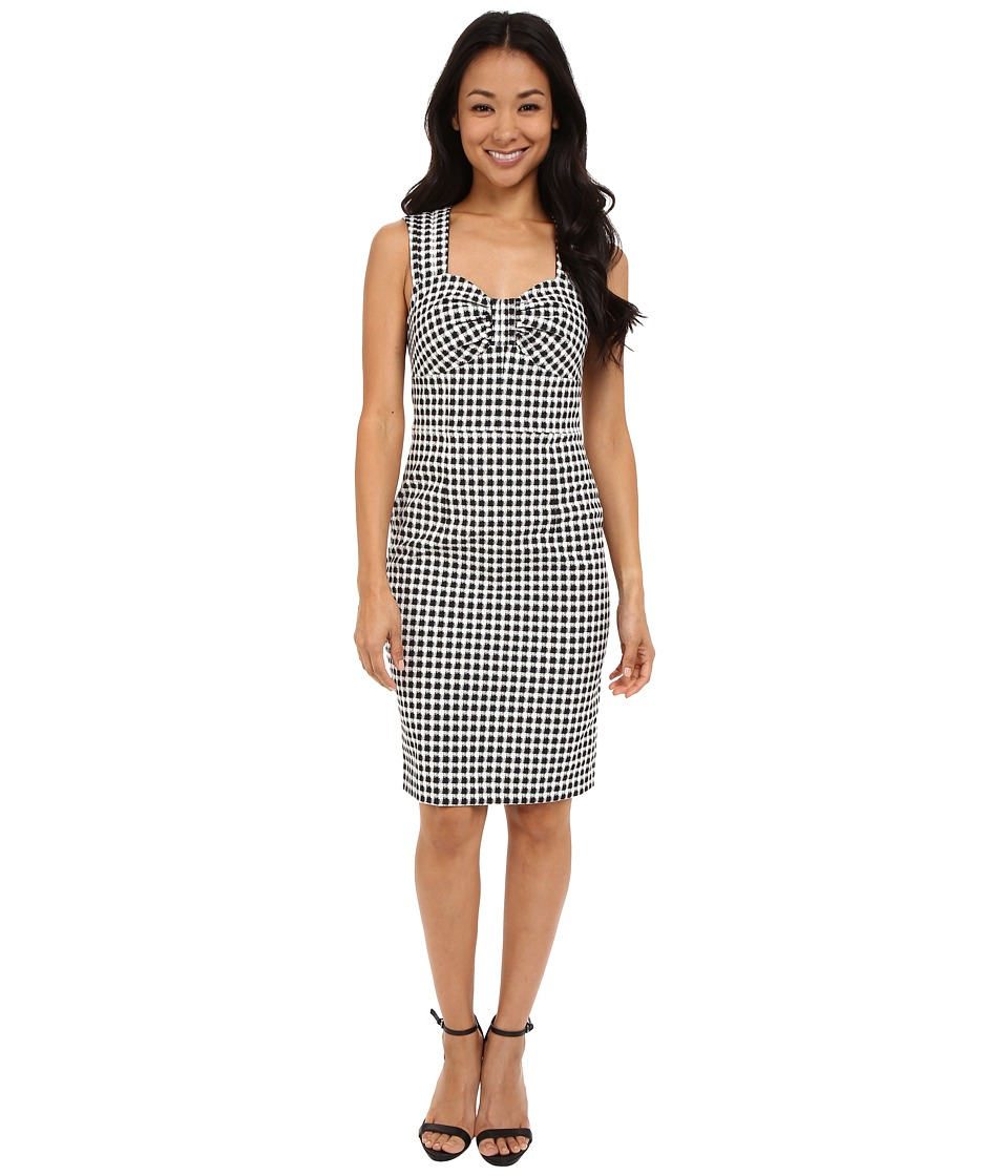 Adrianna Papell - Gingham Jacquard Dress (Ivory/Black) Women's Dress