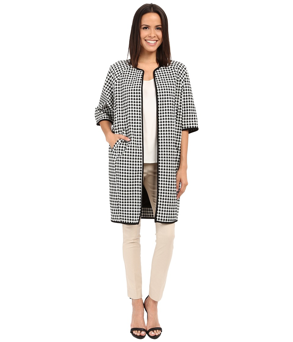 Adrianna Papell - Gingham Jacket Coat (Ivory/Black) Women's Coat