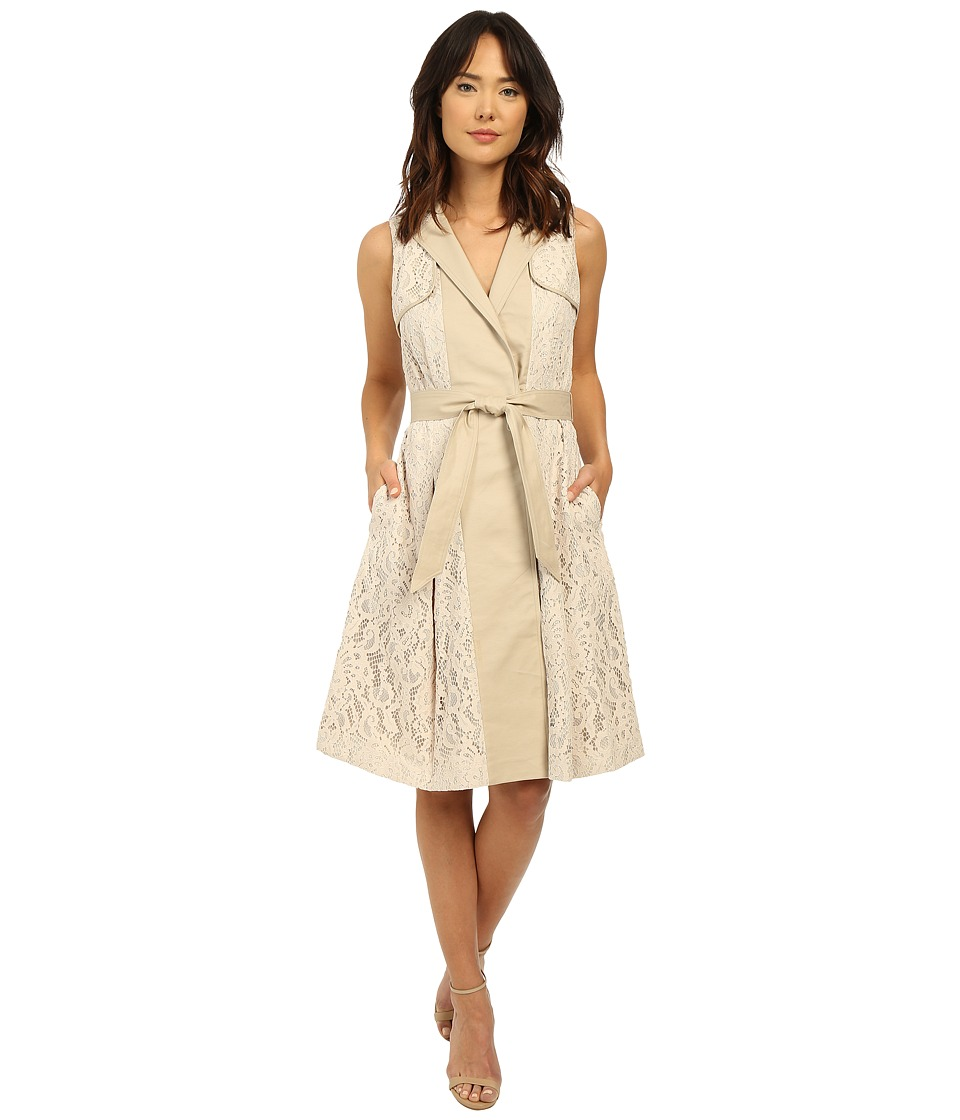 Adrianna Papell - Lace Flower Mesh Dress (Khaki) Women's Dress