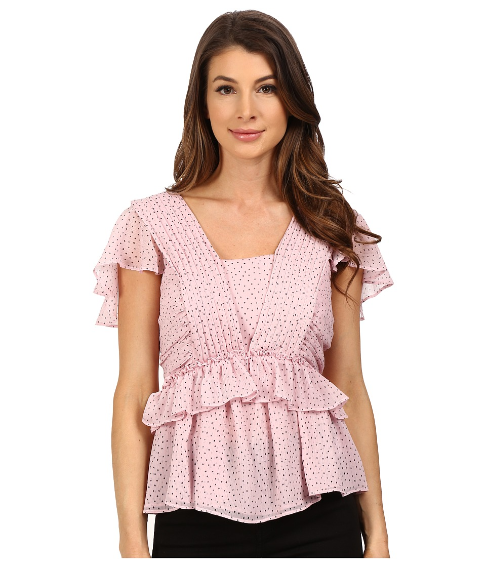 Adrianna Papell - Crinkle Chiffon Pleat Blouse (Petal/Black) Women's Blouse