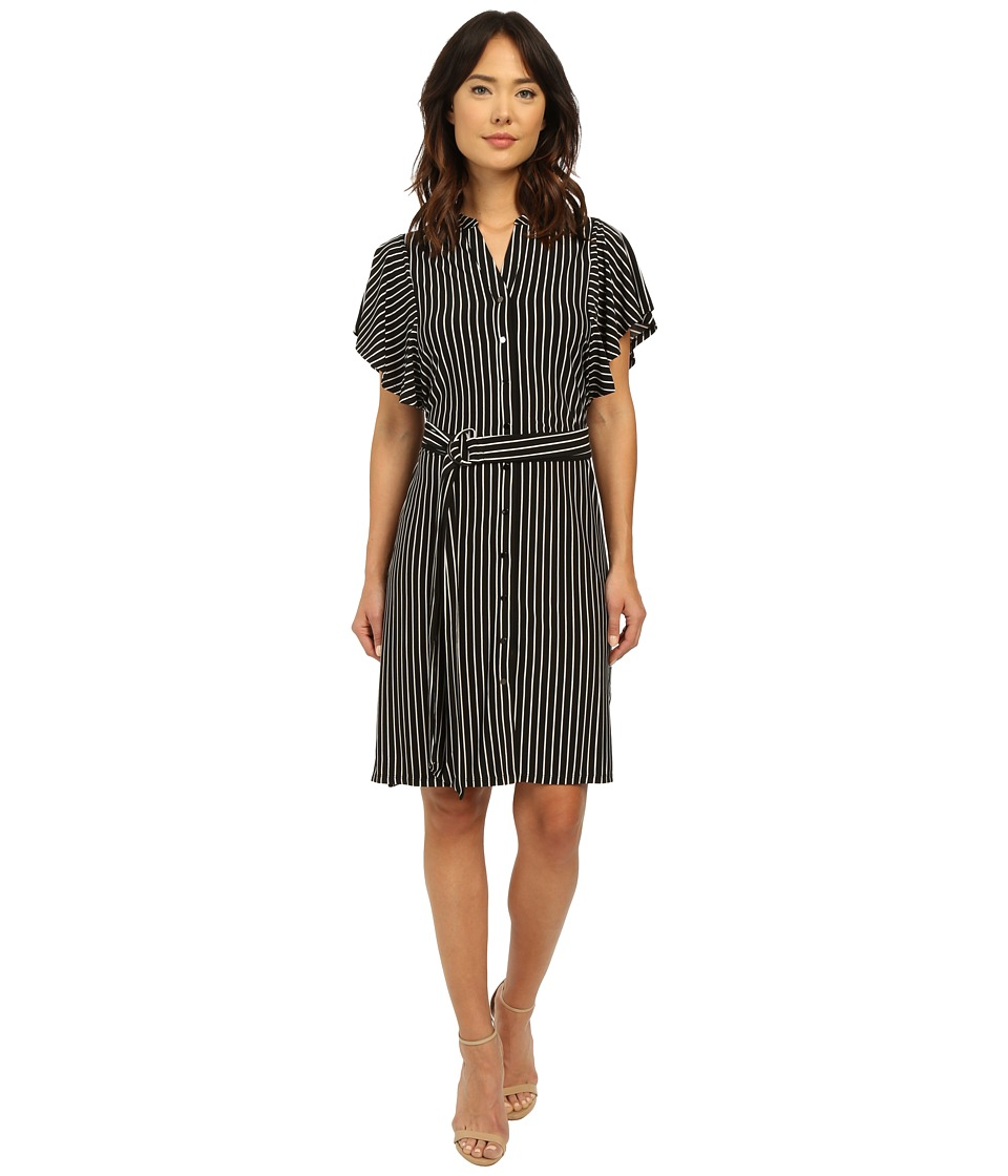 Adrianna Papell - Mandarin Collar Shirtdress (Black/Ivory) Women's Dress