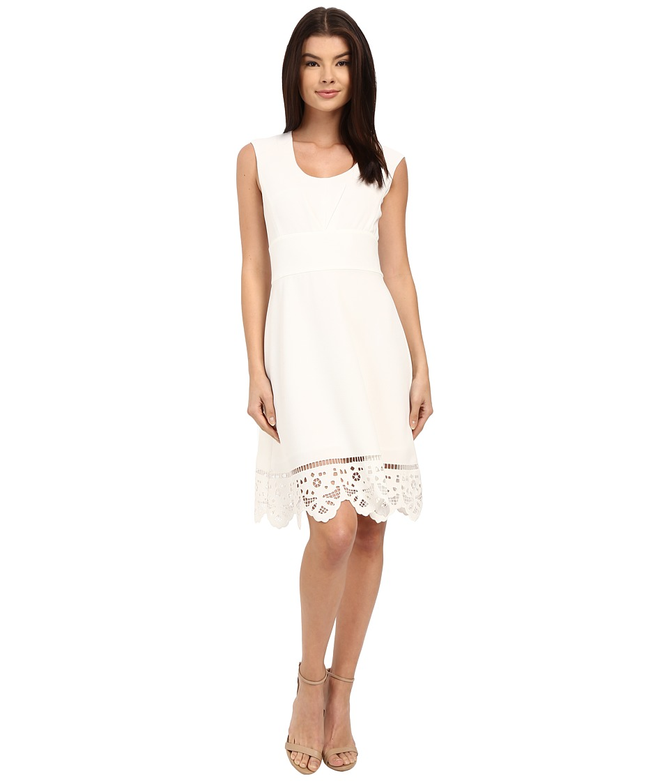Adrianna Papell - Laser-Cut Scalloped Hem Dress (Ivory) Women's Dress