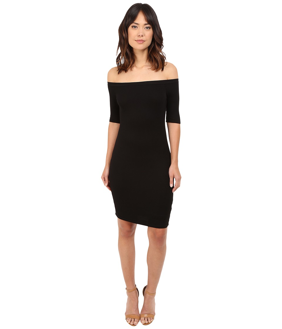 Splendid - 2x1 Off the Shoulder Rib Dress (Black) Women's Dress