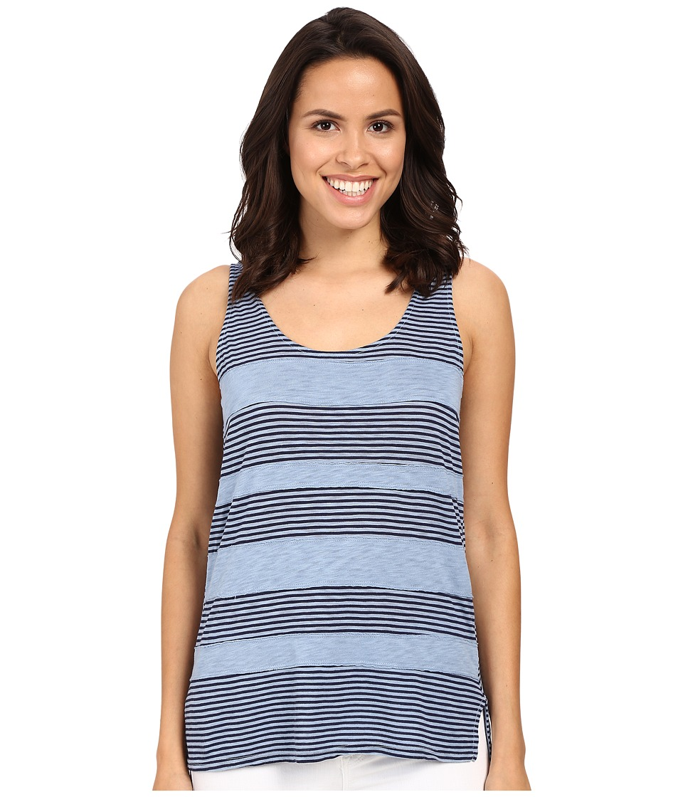 Splendid - Mixed Media Stripe Tank Top (Faded Denim) Women's Sleeveless