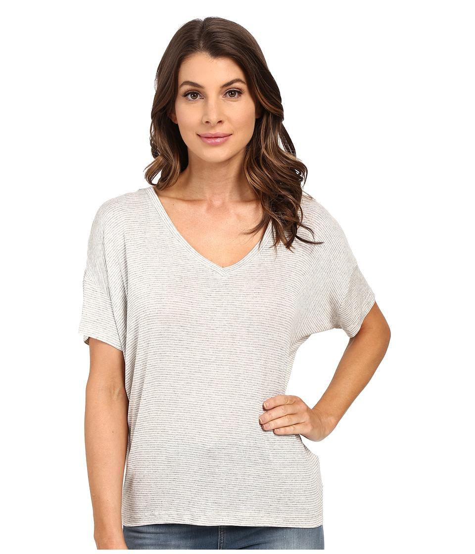 Splendid - Winward Micro Stripe V-Neck (Heather Grey) Women's Short Sleeve Pullover