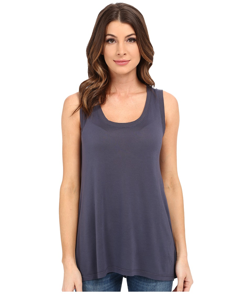 Allen Allen - Hi-Low Tank Top w/ Rib Trim (Flint) Women's Sleeveless