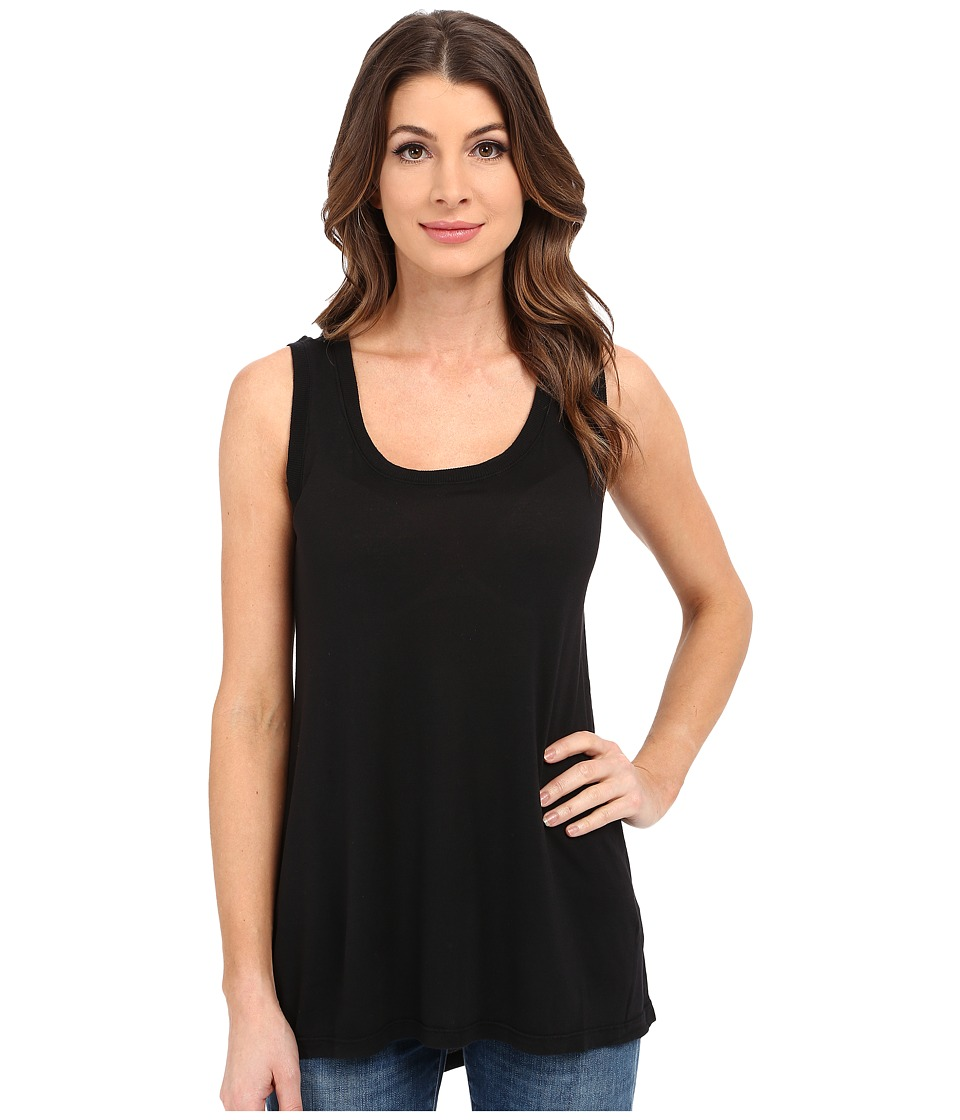 Allen Allen - Hi-Low Tank Top w/ Rib Trim (Black) Women's Sleeveless
