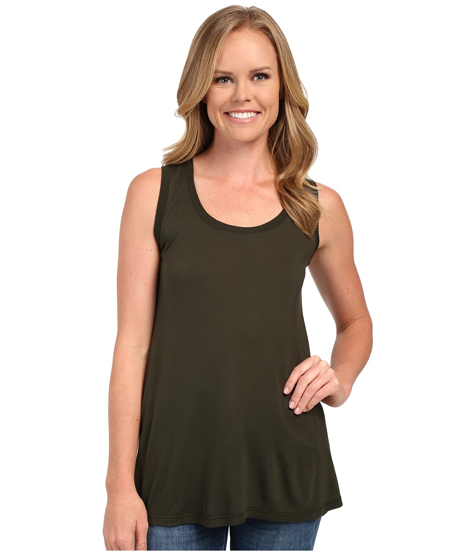 Allen Allen - Hi-Low Tank Top w/ Rib Trim (Dark Olive) Women's Sleeveless