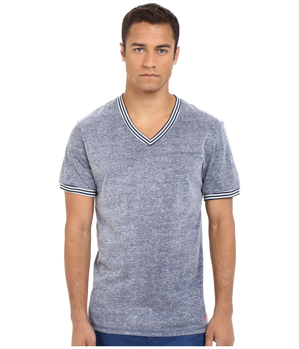 Original Penguin - V-Neck Short Sleeve (Dark Denim) Men's Clothing