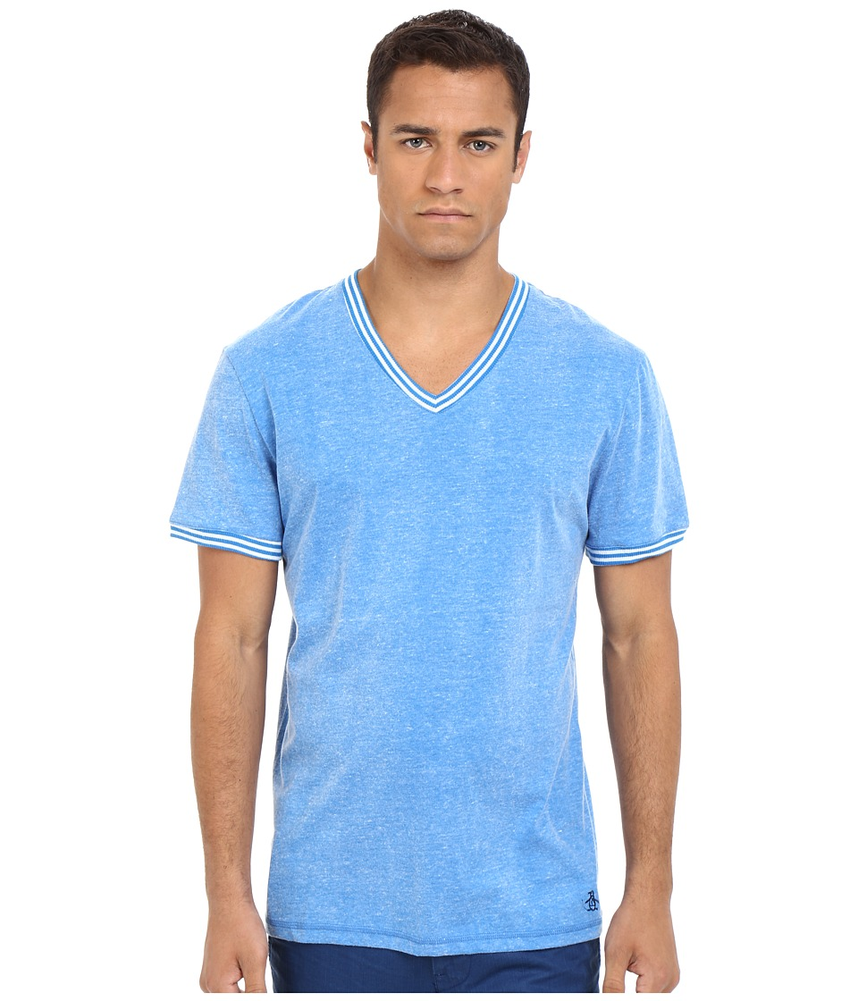Original Penguin - V-Neck Short Sleeve (Directoire Blue) Men's Clothing