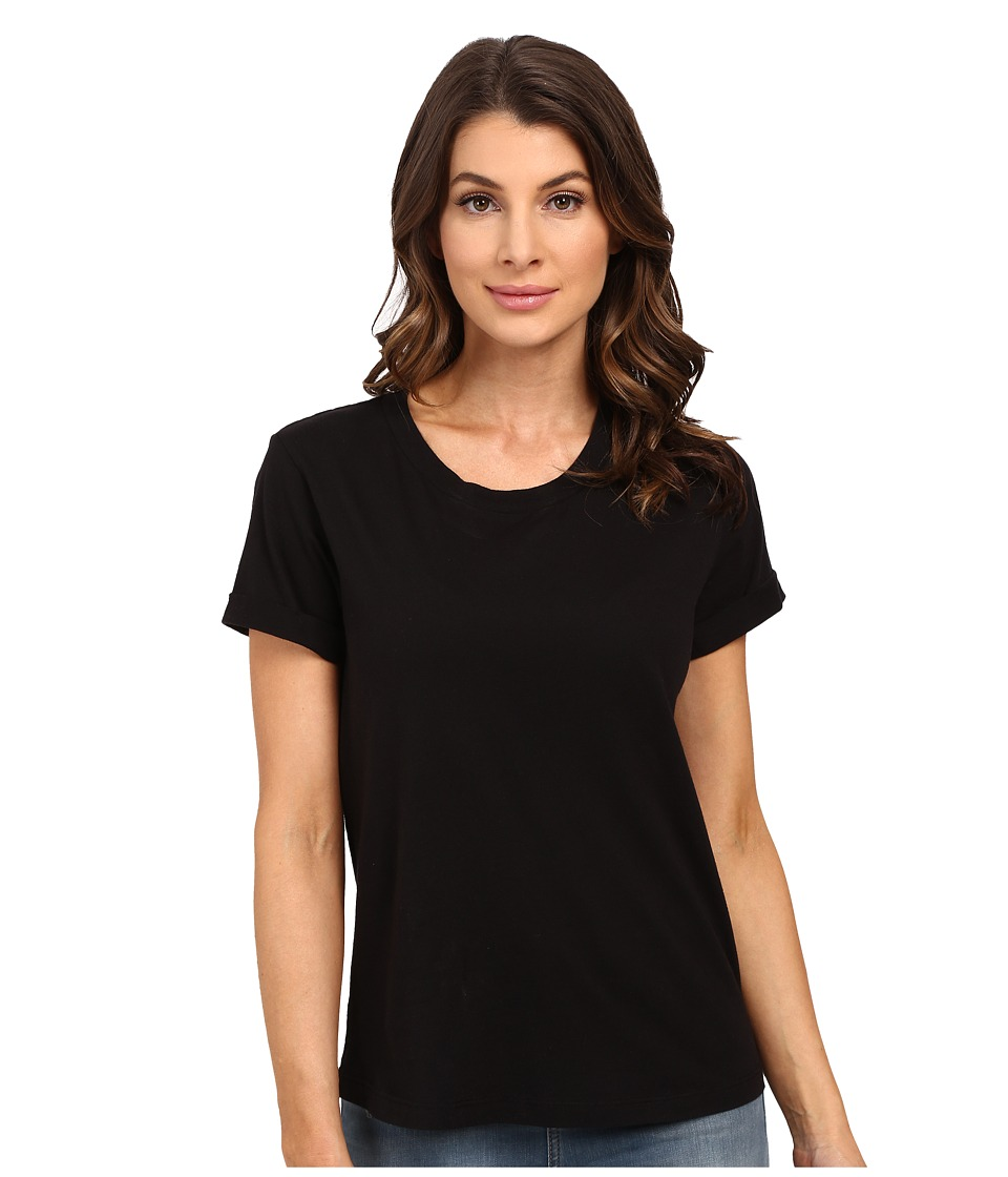 Splendid - Baby Jersey Rolled Cuff Short Sleeve (Black) Women's Short Sleeve Pullover
