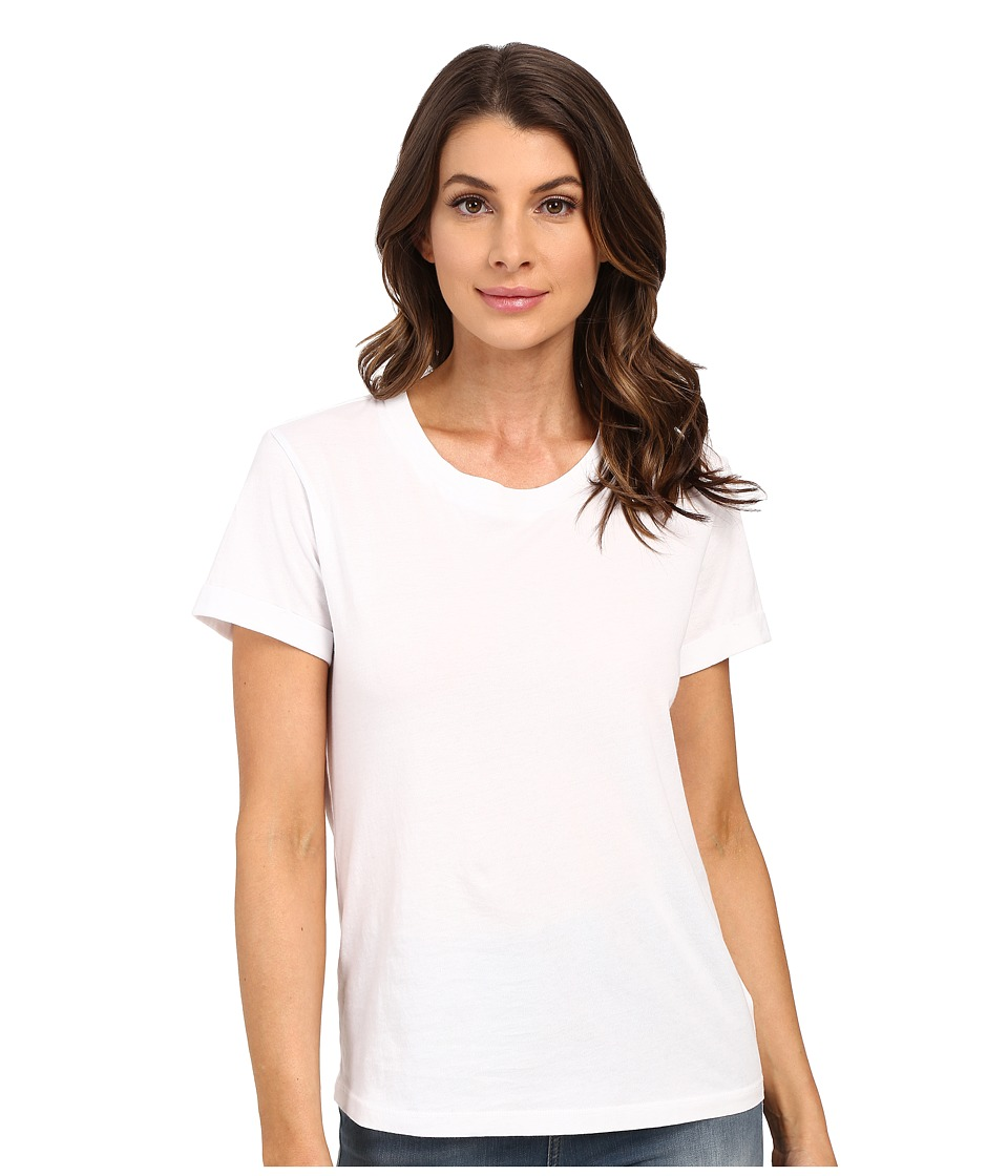 Splendid - Baby Jersey Rolled Cuff Short Sleeve (White) Women's Short Sleeve Pullover