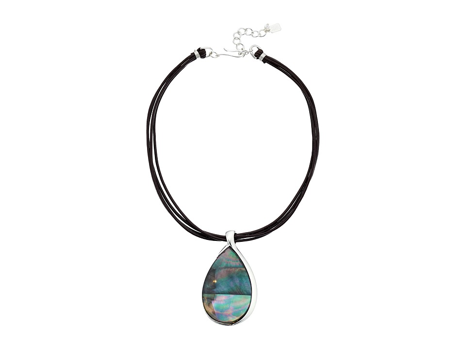 Robert Lee Morris - Black Teardrop Stone Pendant Necklace (Black) Necklace