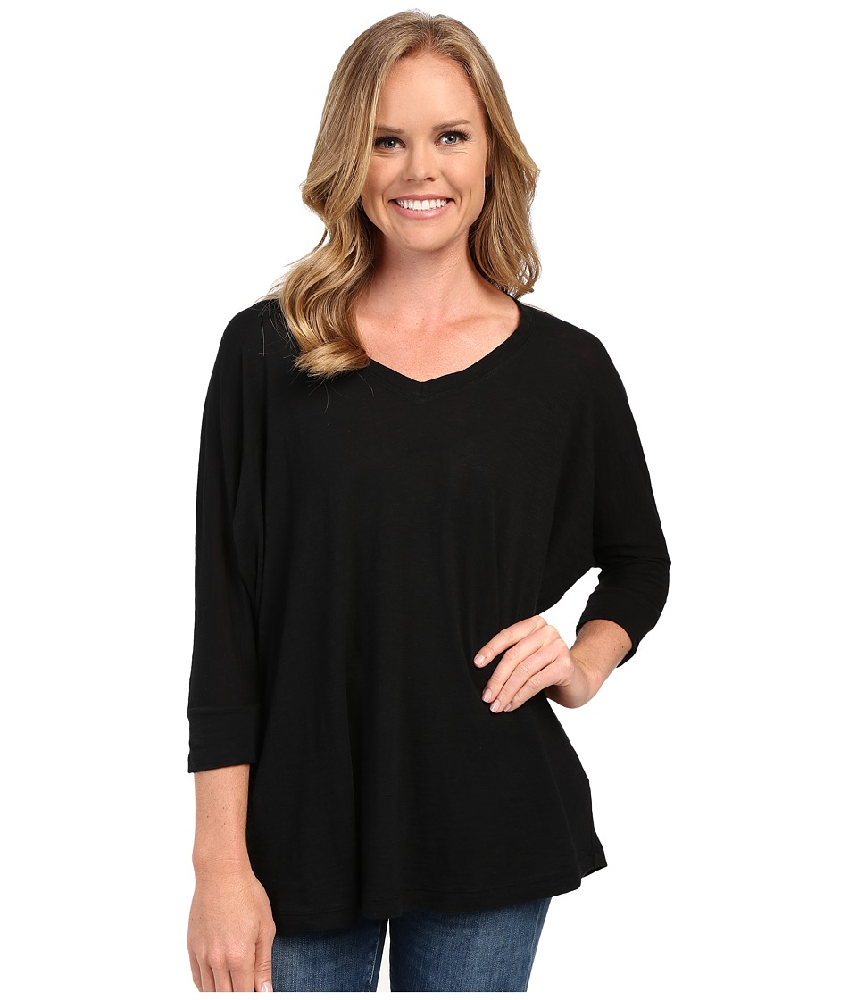 Allen Allen - 3/4 Sleeve Dolman Vee (Black) Women's Long Sleeve Pullover