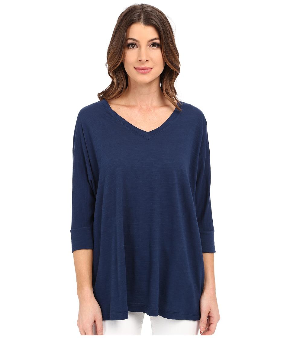 Image of Allen Allen - 3/4 Sleeve Dolman Vee (Lapis) Women's Long Sleeve Pullover