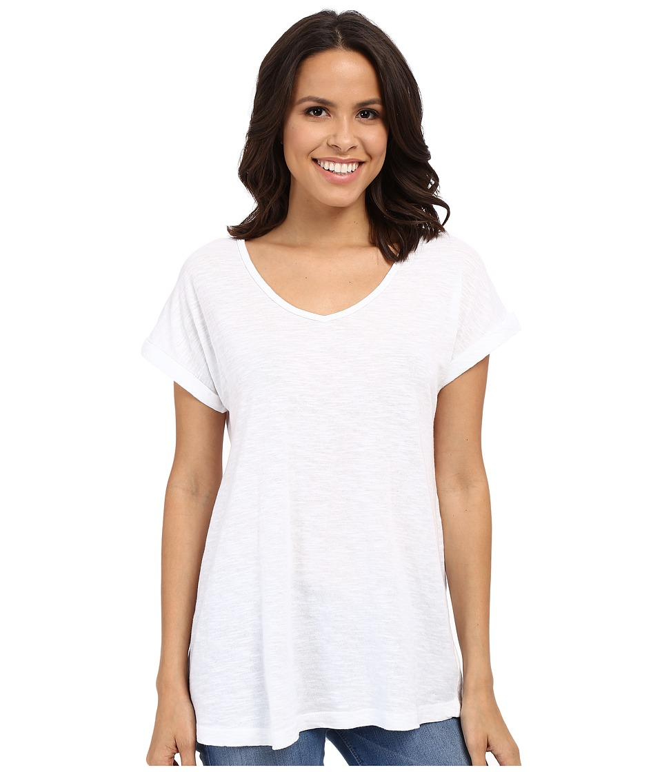 Allen Allen - Short Sleeve Vee (White) Women's Short Sleeve Pullover