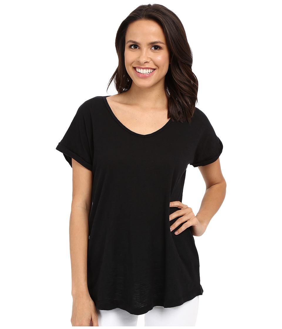 Allen Allen - Short Sleeve Vee (Black) Women's Short Sleeve Pullover