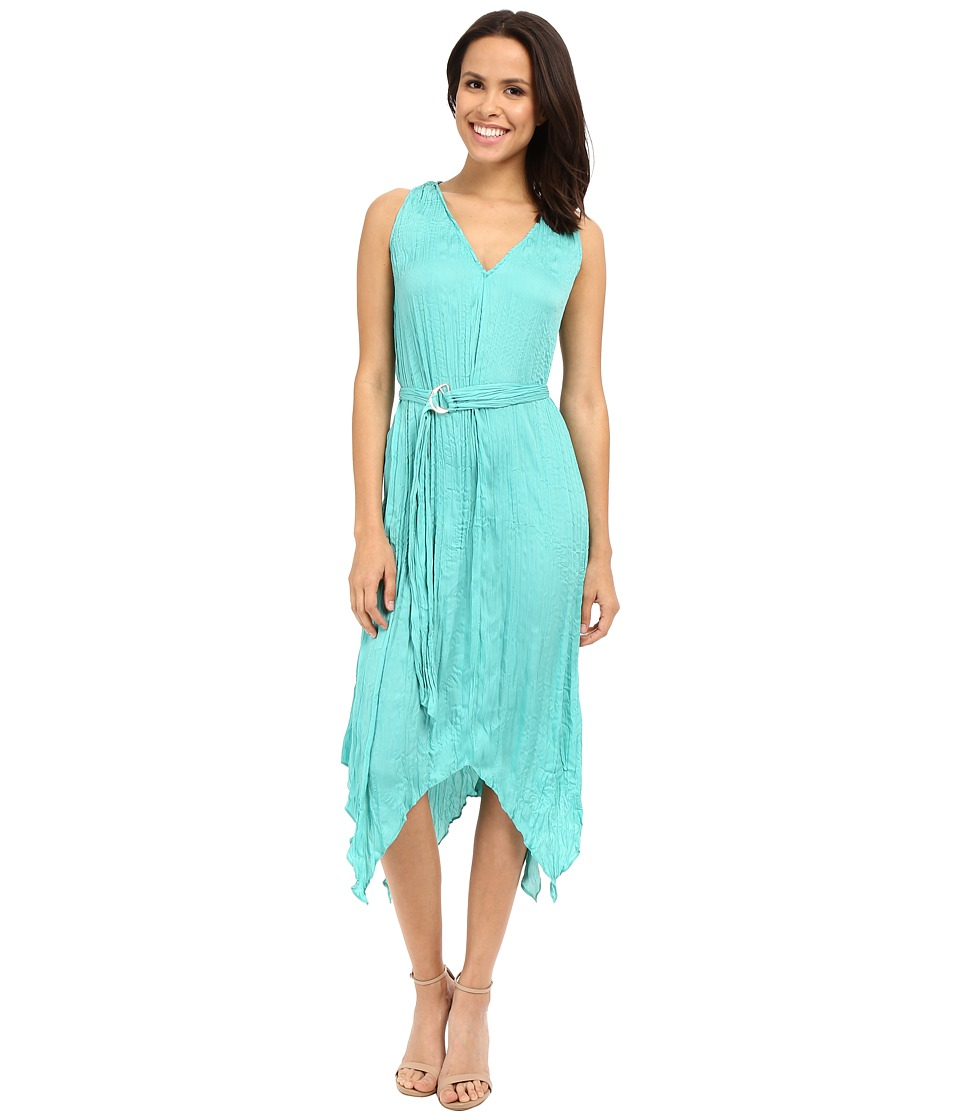 Adrianna Papell - V-Neck Hankerchief Dress (Aquamarine) Women's Dress