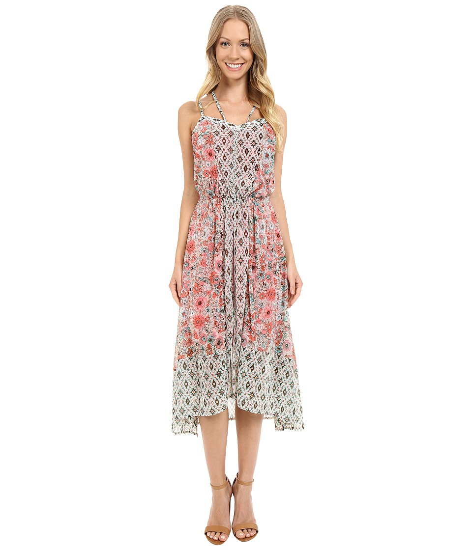 Adrianna Papell - Print Chiffon Knit Dress (Pink Multi) Women's Dress
