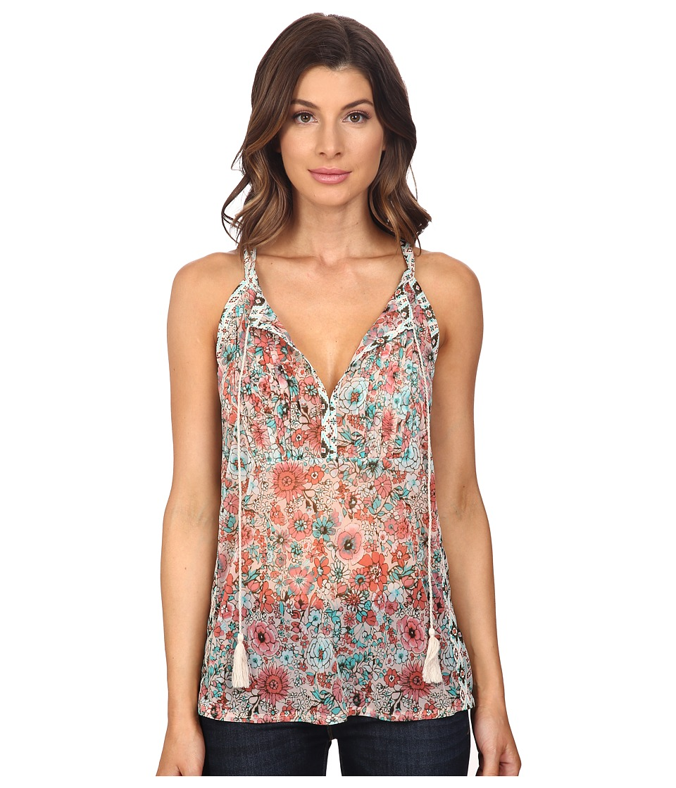 Adrianna Papell - Print Tie Neck Tank Top (Pink Multi) Women's Sleeveless