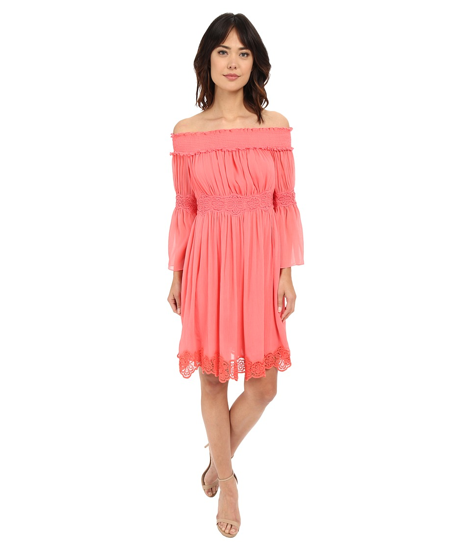 Adrianna Papell Crinkle Chiffon Dress (Light Coral) Women