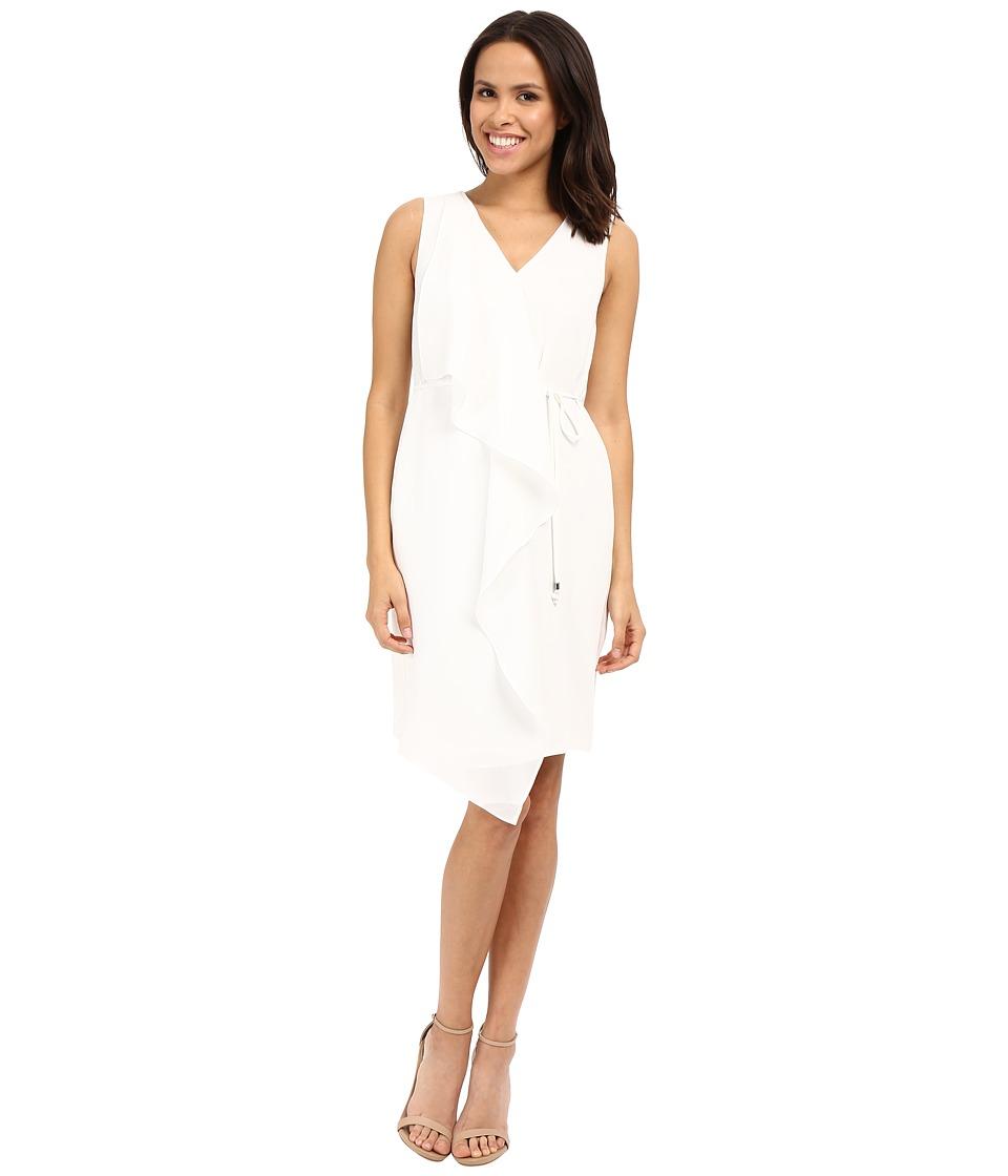Adrianna Papell Crepe Sleeveless Draped Dress (Ivory) Women