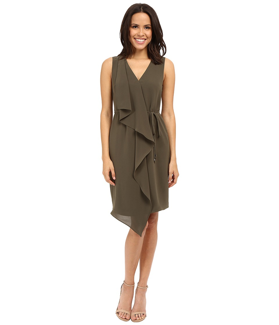 Adrianna Papell - Crepe Sleeveless Draped Dress (Olive) Women's Dress