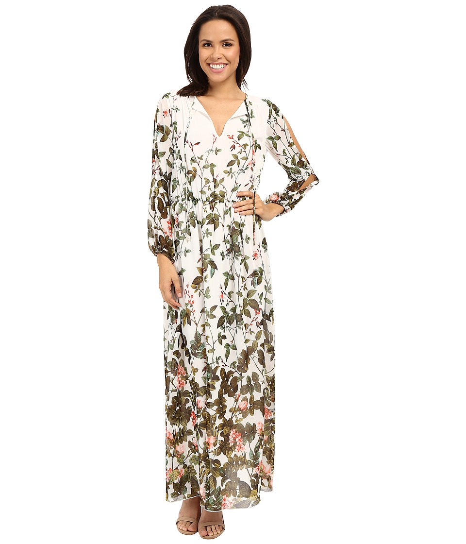 Adrianna Papell - Print Flat Chiffon Maxi Dress (Ivory Multi) Women's Dress