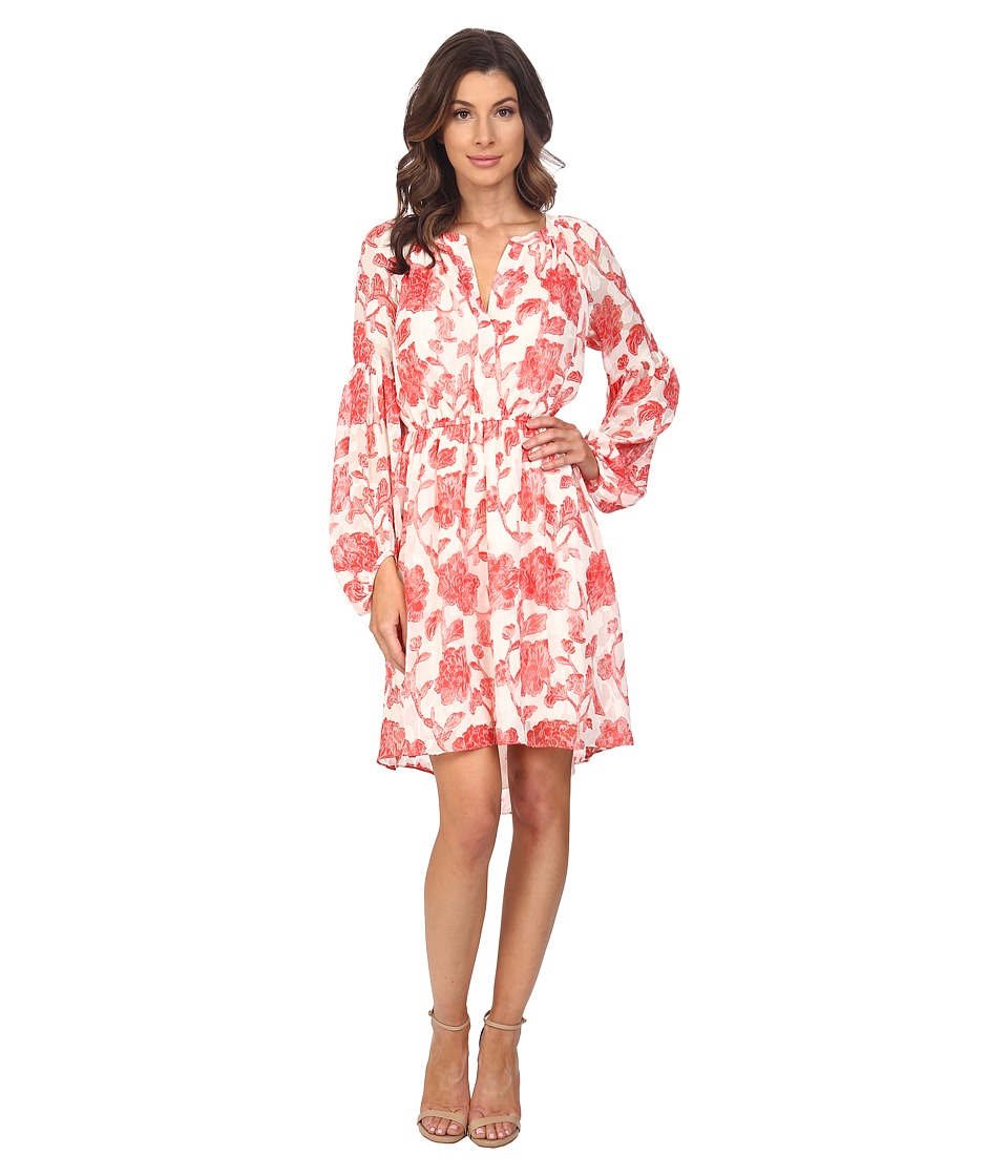 Adrianna Papell - Floral Jacquard Loose Fit Dress (Red/Ivory) Women's Dress